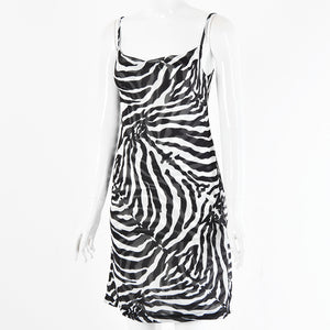 strappy zebra printed back hollow out lace-up mini dress