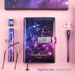 12 constellations password B6 leather notebook