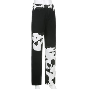 cow printed patchwork high waisted straight leisure jeans