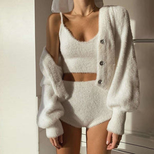 soft fluffy slouchy pure white knitted leisure cardigan