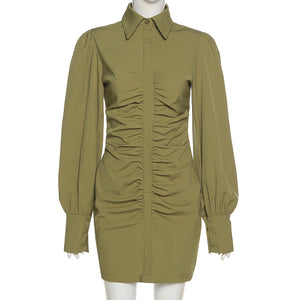 puff sleeved solid color one-line buttons pleated shirt dress