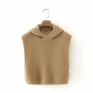 chic camel color hooded both side slit sweater knitted vest