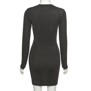 mock neck glitter front hollow out lace-up slim bodycon dress