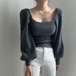 square collar puff sleeved solid color leisure knitted top