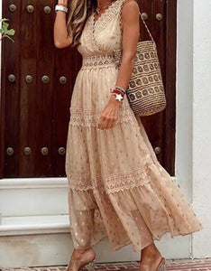 deep v neck chiffon lace patchwork polka dots long holiday dress