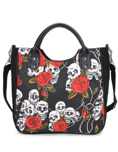 skull printed canvas large capacity shoulder bag