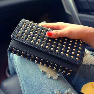 punk rivet decoration trifold purse