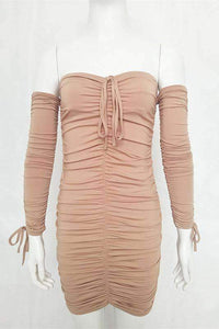 Solid Color Pleated Bodycon Dress