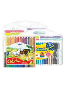 24 colors rotatable washable kids crayons