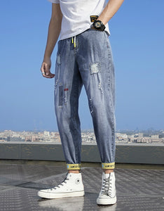 ripped jeans ankle banded loose harem pants