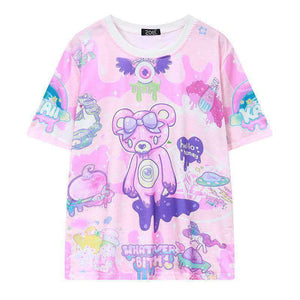 Pink Bear Monsters Whatever Bitch T-shirt