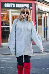 4 Colors Loose Turtleneck Sweater Dress