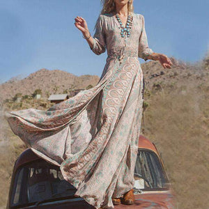 Vintage Floral Printed High Slit Belted Maxi dress