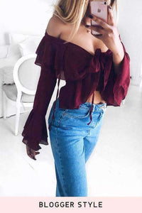 Front Tie Gauze See-through Falbala Blouse