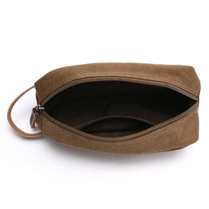 canvas solid color men cosmetic bag