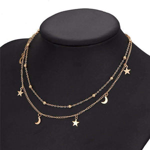 Moon Star Simple Double-layer Necklace