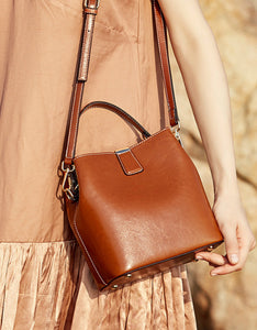 solid color waxy cowhide bucket bag