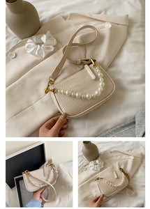 fashion pearls studded chain shoulder bag