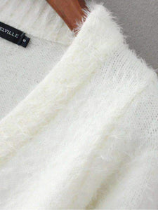 Solid Color Mohair Crop Cardigan Sweater