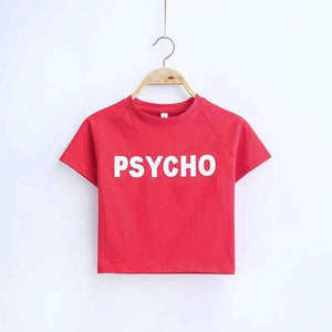 PSYCHO / HAPPY-GO-LUCK Print Crop Top