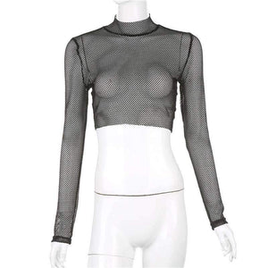 See Through Fishnet Mesh Long Sleeve Crop Top