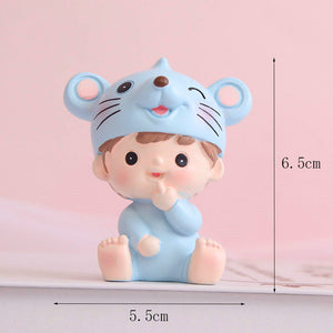 cute mouse boy&girl dessert table desktop decoration