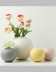 macarons color Nordic style round vase dried flowers desktop decoration