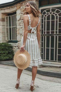 vertical stripe back bow-tie strappy a-line dress