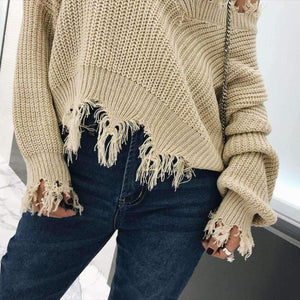 Khaki V Neck Irregular Ripped Hem Sweater