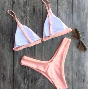 Cute Solid Color 2 Pieces Bikini Set