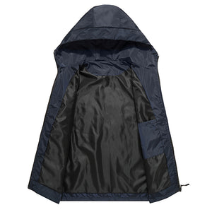 men hooded light-reflecting zipper jacket