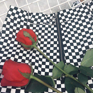 Cool Checkerboard Print Front Zipper Skirt