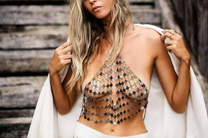 Boho Metal Halter Crop Top Body Chain