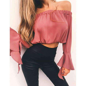 Off-the-shoulder Falbala Flared Sleeve Chiffon Blouse