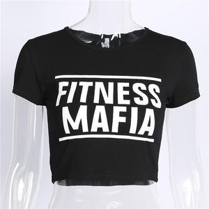 letters printed slim crop top
