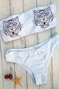 tiger printed two-piece bikini set