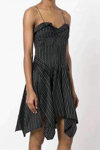 Irregular Stripes Falbala Strappy Mini Dress