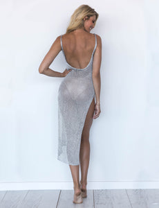 see-through mesh backless side slit bikini cover-up dress