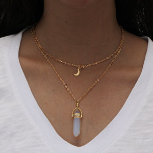 double layer moon bullet head pendant  choker necklace