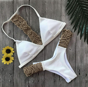Crochet Halter-neck Bikini Set