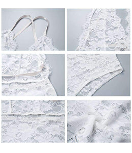 White Lace Bodysuit Lingerie With Silky Belt