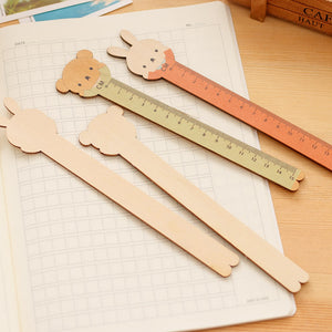 cartoon animal shape wooden ruler