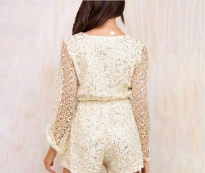 Sequins Flare Sleeve Lace Playsuit Romper