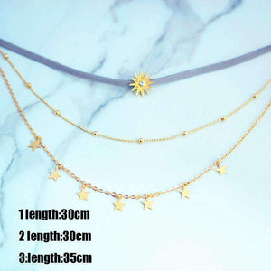 Sun Stars Multi-layer Necklace Set