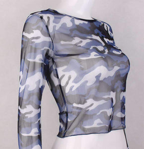 see-through camouflage long sleeved crop top