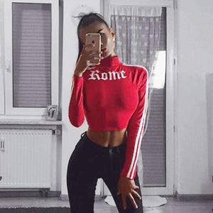 Gothic Rome Print Stripes Long Sleeve Crop Top