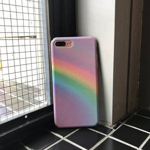 rainbow printed hard PC frosted cover phone case