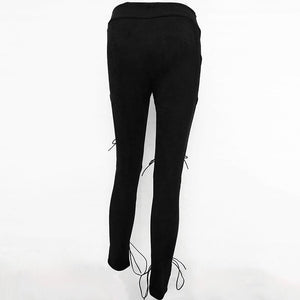 suede eyelet criss-cross hollow out solid color slim pants