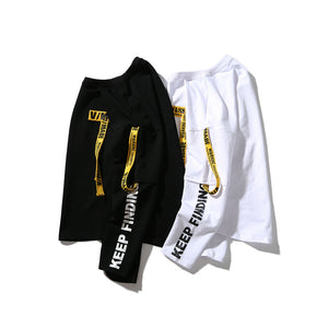 ribbon letter printing men's long sleeve t-shirt