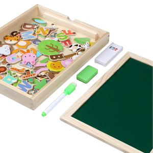 wooden magnetic puzzle with drawing board toys